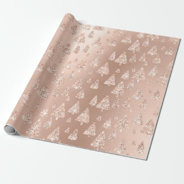 Pink Rose Powder Gold Glitter Christmas Tree Wrapping Paper