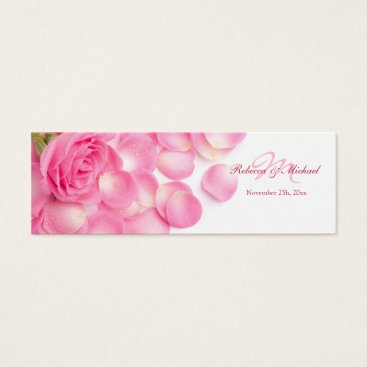 Pink Rose with Scattered Petals Thank You Tags