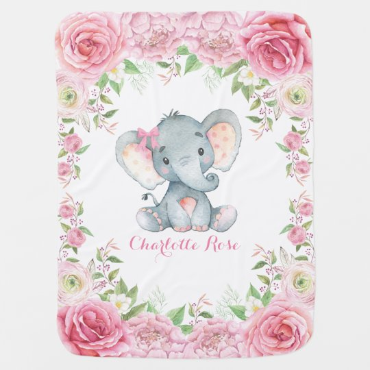 pink roses baby elephant