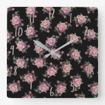 Pink Roses Dark Floral Pattern Shabby Chic Square Wall Clock