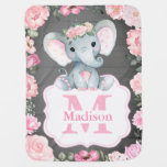 Pink Rustic Elephant Baby Blanket with Roses