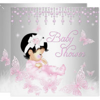 Pink Silver Sprinkle Butterfly Baby Shower Card