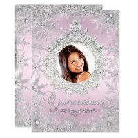 Pink Silver Tiara Snowflake Sparkle Quinceanera Card
