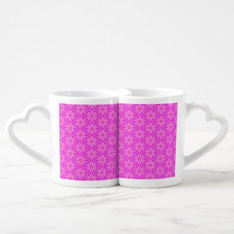 Pink Snowflakes Spinning in Abstract Winter Coffee Mug Set