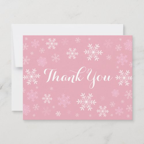Pink Snowflakes Winter Thank You Card