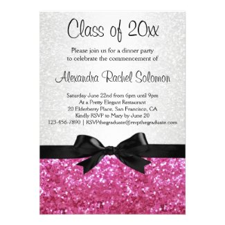 Pink Sparkle-look Bow Graduation Invitation