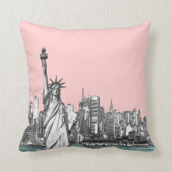 Pink Statue of Liberty New York Throw Pillows