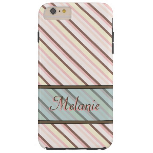 Pink Stripe Pattern Name Template Tough iPhone 6 Plus Case