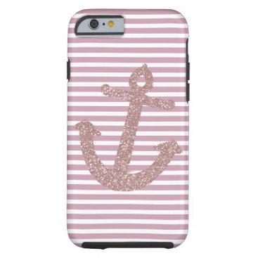 Pink Stripes Faux Glitter Anchor Tough iPhone 6 Case