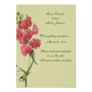 Pink Sweet Pea Flower Wedding Save The Date Card