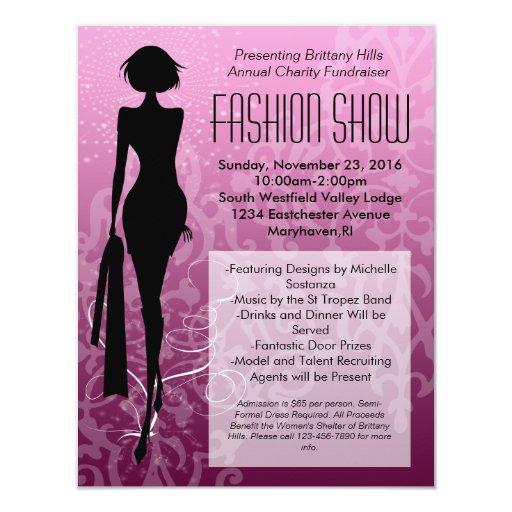 Pink Swirl Silhouette Fashion Show Invitations Zazzle