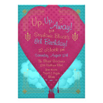 Pink Teal Hot Air Balloon Girls Birthday Party Custom Announcements