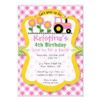 Pink Tractor Sunflower Girls Birthday Party Invite