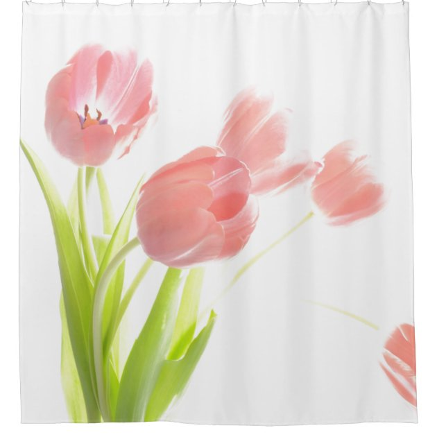 pink tulip flower shower curtain zazzle com