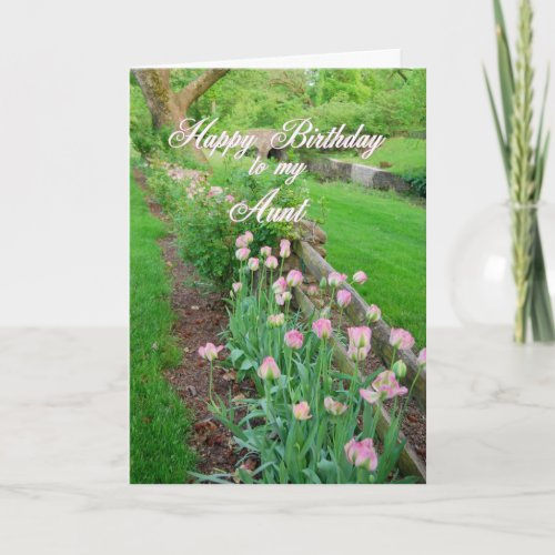 Pink Tulips Aunt Happy Birthday card