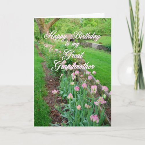Pink Tulips Great Grandmother Happy Birthday card