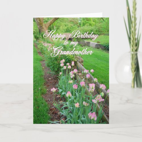 Pink Tulips Happy Birthday Grandmother card
