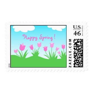 Pink tulips - Postage stamp