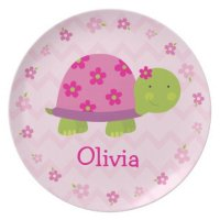 Pink Turtle Personalized Melamine Plate for Kids | Zazzle