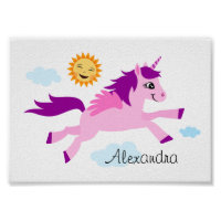 Pink unicorn and happy sun, wall art for children