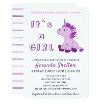 Pink Unicorn Baby Girl Shower Invitation Card