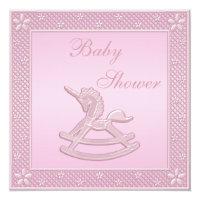 Pink Unicorn Rocking Horse Baby Girl Shower Card