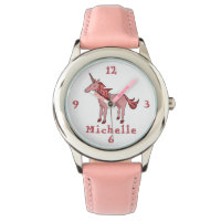 Pink Unicorn with Name Personalizable Watch