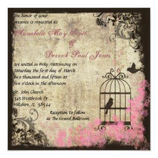 Pink Vine Wedding Birdcage Invitation