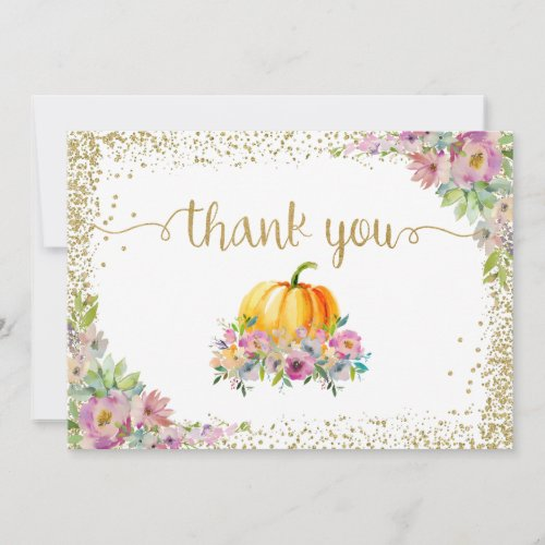 Pink Watercolor Floral Pumpkin Fall Thank You