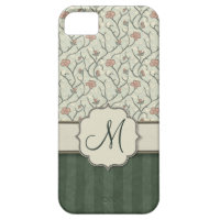 Pink Watercolor Floral Vines, Stripes and Monogram iPhone 5/5S Cover