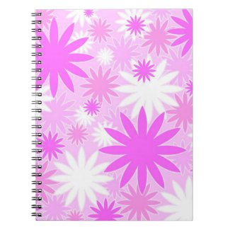 Pink white flowers notebooks