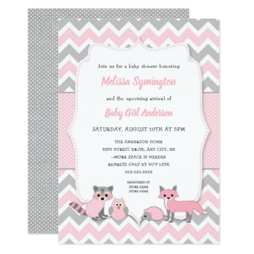 Pink woodland animal baby shower invitation