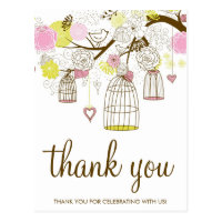 Pink & Yellow Birdcages Lovebirds Thank You Postcard