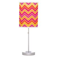 Pink yellow chevron zigzag pattern lamp shade | Zazzle