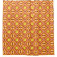 pink, yellow, orange, geometric shower curtain | Zazzle