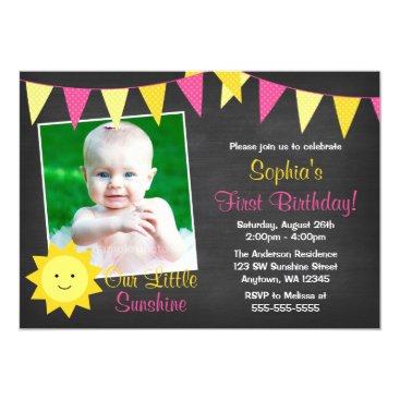 Pink Yellow Sunshine Chalkboard Photo Birthday Invitation