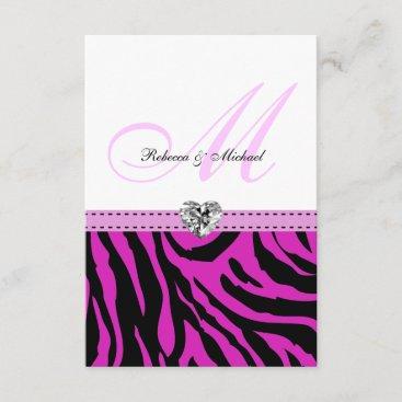 Pink Zebra Wedding RSVP Cards
