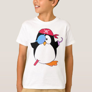 Pirate Penguin Graphic Pink T-Shirt