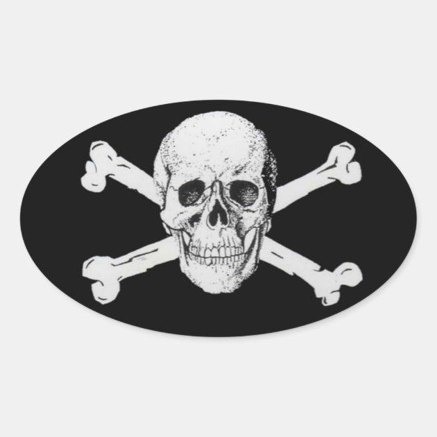 Pirate Skull And Crossbones Oval Sticker Zazzle Com