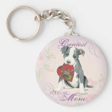 Pit Bull Heart Mom Keychain