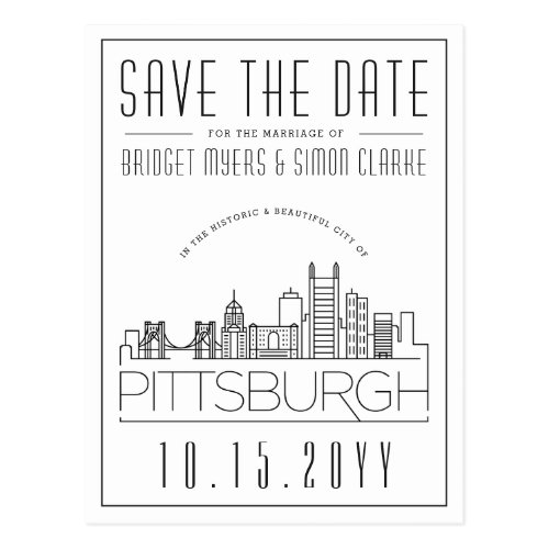 Pittsburgh Wedding Stylized Skyline Save the Date Postcard