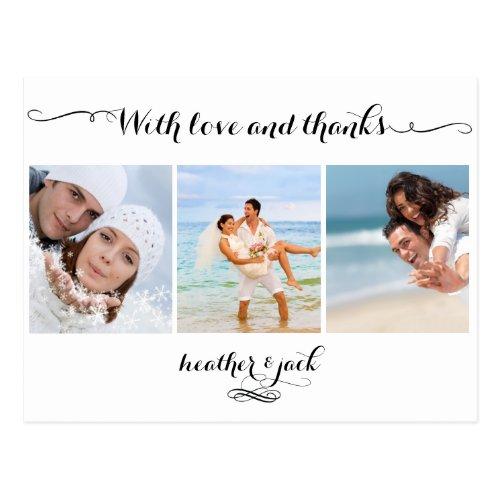 PixDezines DIYcolor/wedding photos thank you Postcard
