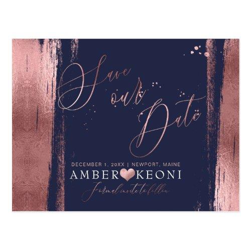 PixDezines Faux RoseGold Brushstroke Save our Date Postcard