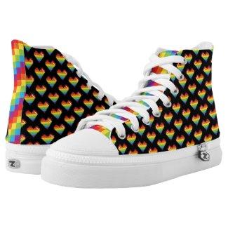 Pixel Rainbow Hearts LGBT Pride Printed Shoes