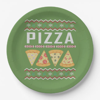 Pizza Ugly Christmas Sweater Paper Plate
