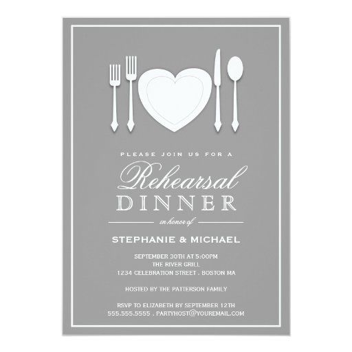 Place Setting Rehearsal Dinner Party Invitation