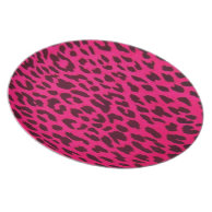 Plain Pink Leopard Print Plate on Zazzle