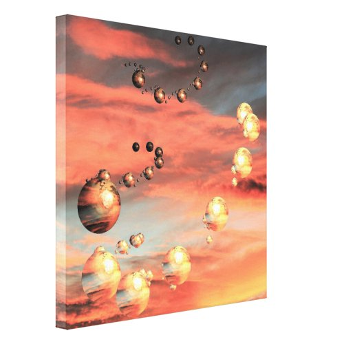 Planets Abound Canvas Print - orange home wall art decor - orange wall art