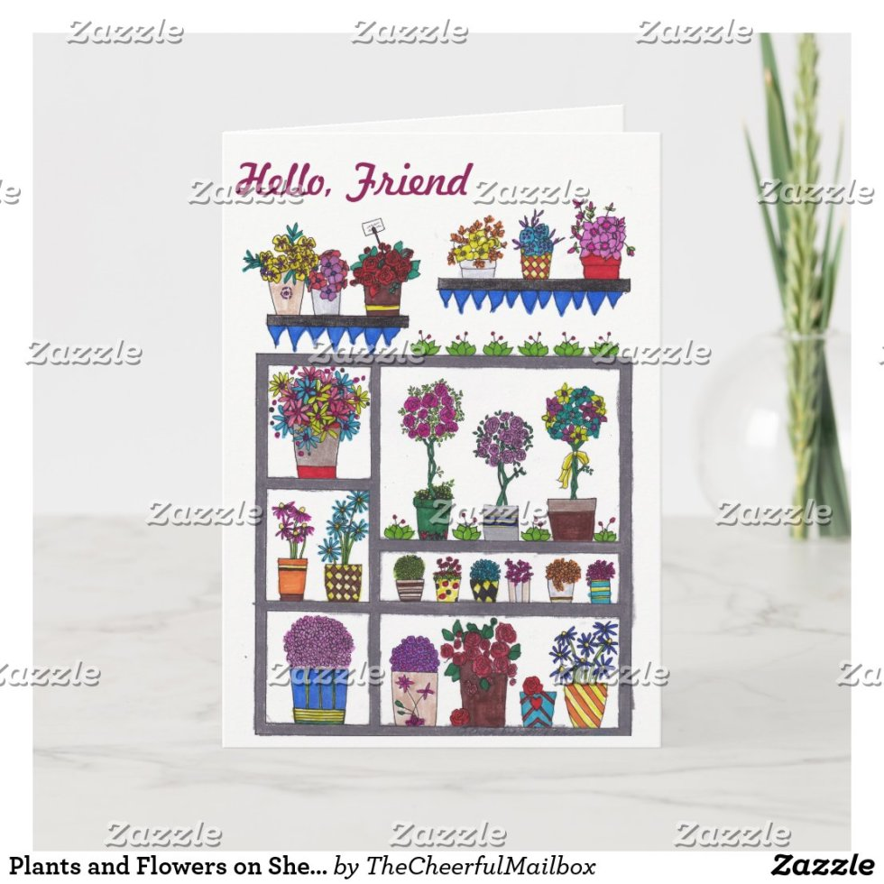 Plants and Flowers on Shelves Friendship Card