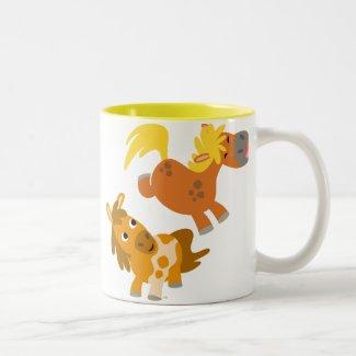 Playful Cartoon Ponies Mug mug